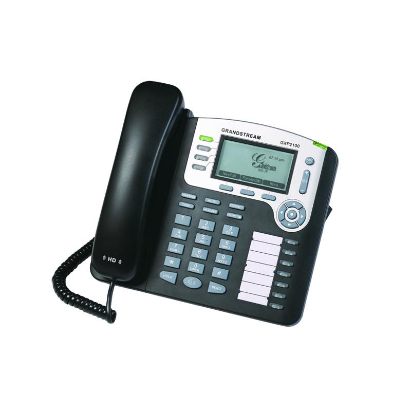 Grandstream GXP-2100 Es un teléfono IP de nueva generación para la pequeña empresa.    Puede gestionar hasta 2 llamadas con 1 cuenta SIP. 4 teclas programables.    Ofrece una calidad superior de audio en alta definición (HD),    Protección de privacidad avanzada y una amplia interoperabilidad con otros dispositivos.    Es una opción perfecta para una pequeña oficina.    Teléfono IP básico por un atractivo precio.