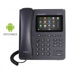 Grandstream GXP-2200, con Android  Pantalla táctil capacitiva LCD TFT de 480x272 pixeles Hasta 6 cuentas SIP simultáneas Conferencia de hasta 5 personas 2 puertos RJ-45 10 teclas funcionales Soporte multilínea de hasta 11 indicadores de línea Códec de vídeo soportado Deteccion de Voz (VAD) y supresión de silencio  DSP avanzado para asegurar una calidad de audio de alta fidelidad Indicador de mensaje hablado en espera Control de volumen CNG (Comfort Noise Generation) Montaje en pared, sobremesa Soporta el Sistema Operativo Android 2.3 y el gran número de aplicaciones para Android (incluyendo Skype, Google Voice, Cliente Lync Microsoft, Youtube, Facebook, Twitter, Pandora, Angry Birds, etc), avanzado kit de desarrollo de aplicaciones personalizadas.