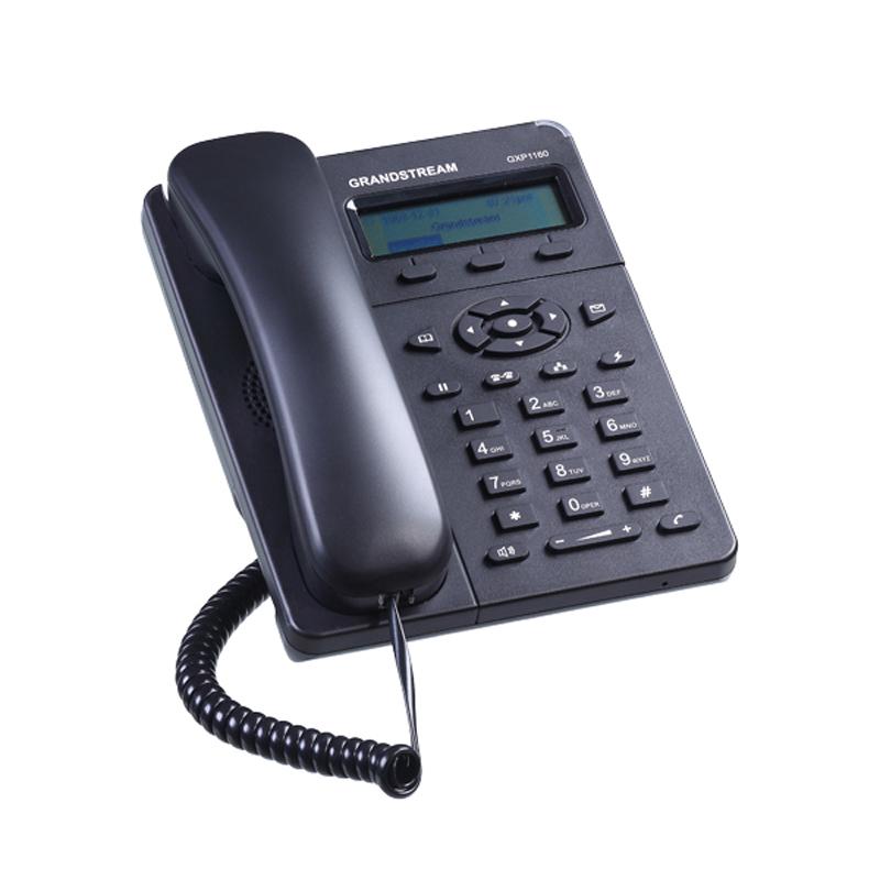 Grandstream GXP-1160Es un terminal para Pymes que permite dos llamadas simultáneas con una única cuenta SIP.Pantalla LCD gráfica  de 128x403 teclas programables sensibles al contextoConferencia  a 3Descuelgue electrónico (EHS ) con auriculares de Plantronics (opcional). Calidad superior de audio (HD)Principales funciones de telefonía de última generación, información personalizadaProtección de la privacidad avanzadaUna opción perfecta para las pequeñas y medianas empresas que buscan un Terminal de alta calidad, con buenas características y con un coste muy asequible.