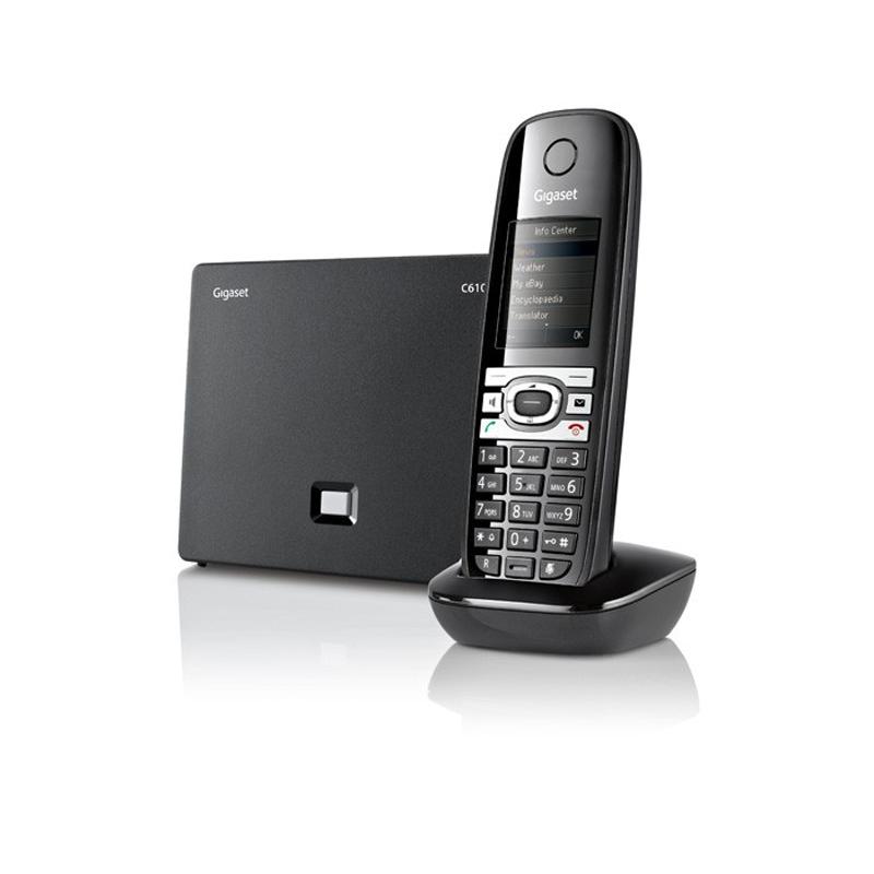 """Siemens Gigaset C610IP  Conmutación de llamadas VoIP (Protocolo SIP) y analógicas por tecla Conexión a la tarjeta red (RJ-45) y a la línea analógica (RJ-11) Permite recibir hasta 3 llamadas simultáneas Función manos libres con la más alta calidad de sonido superior (HDSP) Pantalla TFT de 1,8"""" en color Lector de correo electrónico Tecnología digital ECO DECT 6.0 de última generación Función SMS (depende del operador de red) con hasta 160 caracteres Identificador de llamadas (depende del operador de red) Agenda para 150 contactos (números y nombres) Baby Call Gran autonomía de batería Capacidad de una línea de telefonía fija y 6 líneas IP Se pueden conectar hasta 6 terminales adicionales Giga Tweet Estado del tiempo Facebook, Twitter My Friends Noticias Enciclopedia Traductor"""